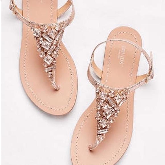 e8cf55ebd David s Bridal Shoes - Rose gold jeweled wedding sandals size 9